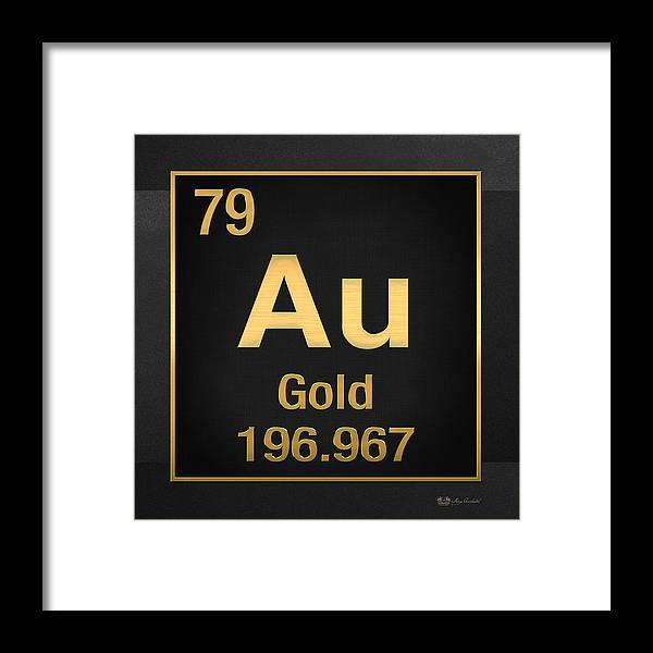 Periodic table of elements gold au gold on black framed print the elements collection by serge averbukh framed print featuring the digital art periodic table urtaz Choice Image