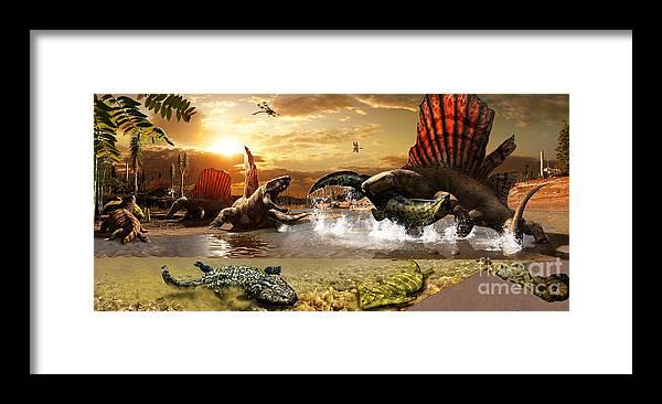 Paleoart Framed Print featuring the digital art Permian mural 1 by Julius Csotonyi