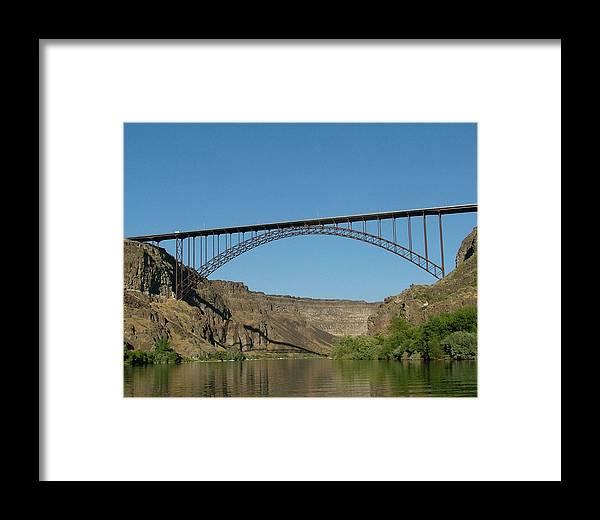 Dawn Blair Framed Print featuring the painting Perrine Bridge by Dawn Blair