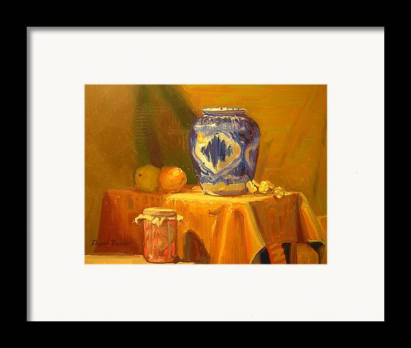 Still Life Framed Print featuring the painting Persian Vase And Fruit Jar by David Dozier