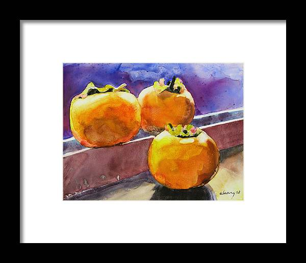 Melody Cleary Framed Print featuring the painting Persimmon by Melody Cleary