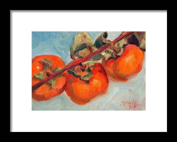 Fruit Framed Print featuring the painting Persimmons by Athena Mantle