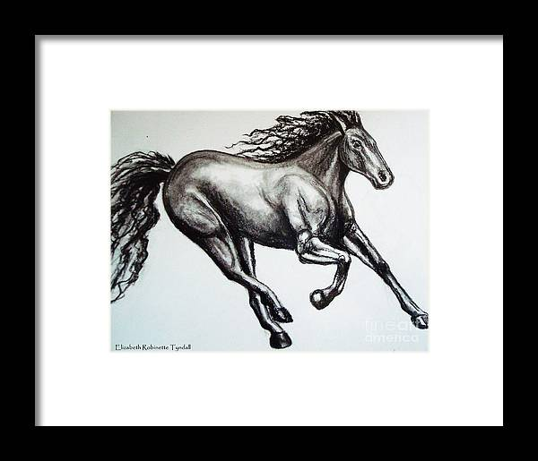 Horse Framed Print featuring the drawing Persistance by Elizabeth Robinette Tyndall