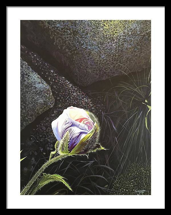 Poppy Framed Print featuring the painting Persistence by Hunter Jay