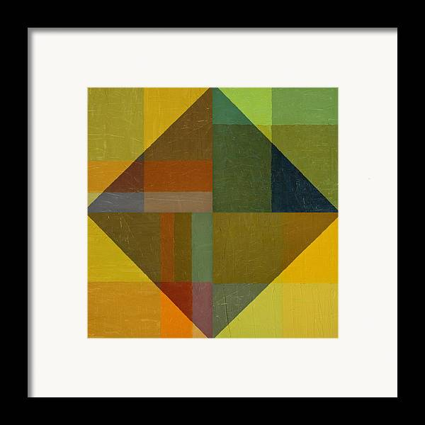 Abstract Framed Print featuring the painting Perspective In Color Collage 8 by Michelle Calkins