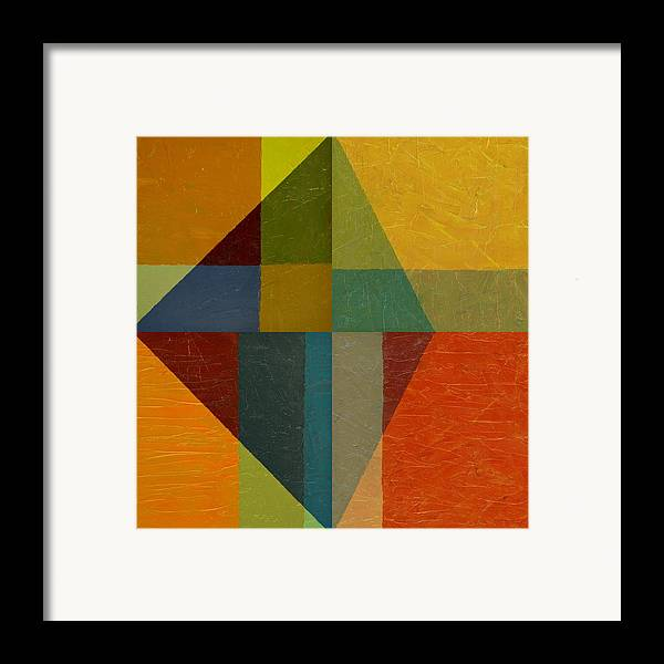 Abstract Framed Print featuring the painting Perspective In Color Collage by Michelle Calkins