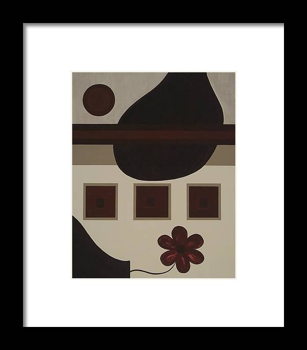 Modern Framed Print featuring the painting Perspective Of A Vase by Sandy Bostelman