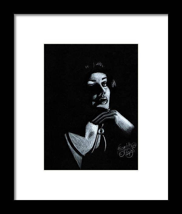 Portrait Framed Print featuring the drawing Persuasion by Scarlett Royal