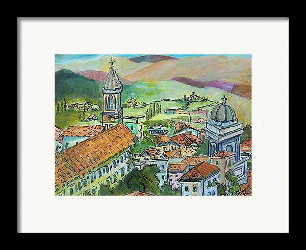 Perugia Framed Print featuring the painting Perugia Italy by Mindy Newman