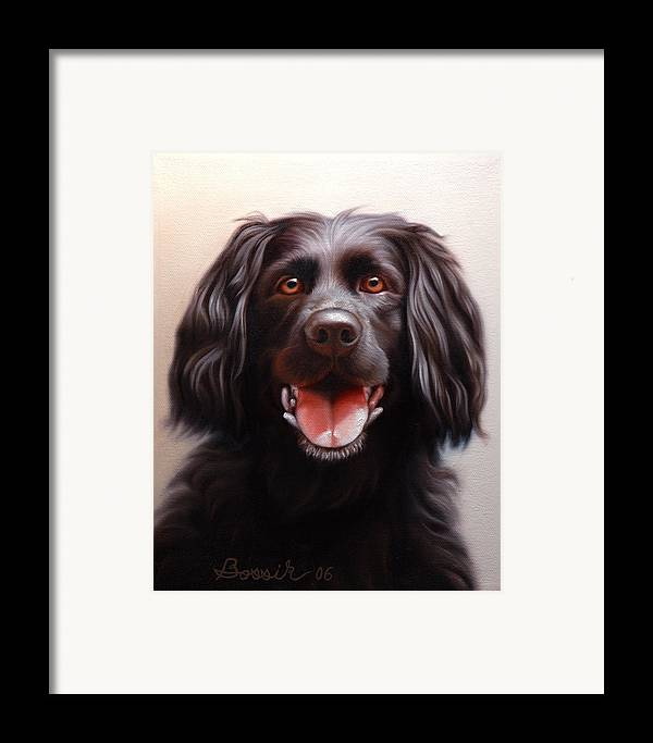 Black Labrador Framed Print featuring the painting Pet Portrait Of A Black Labrador by Eric Bossik