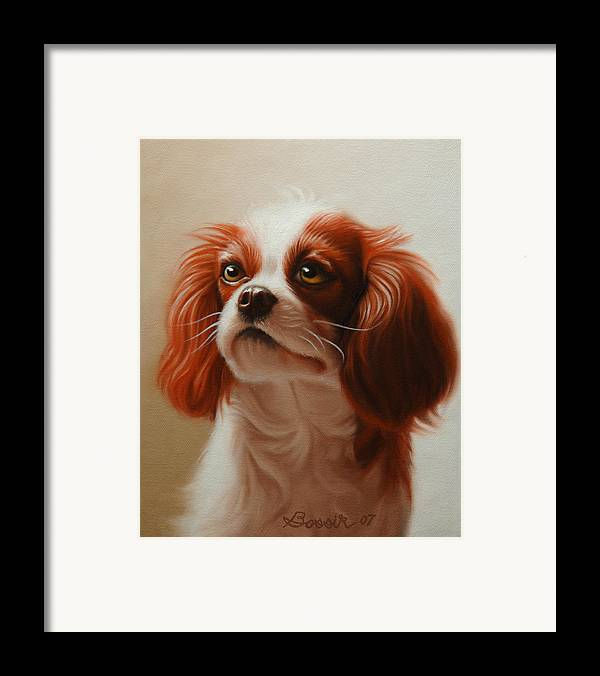 Cavalier King Charles Framed Print featuring the painting Pet Portrait Of A Cavalier King Charles Spaniel by Eric Bossik