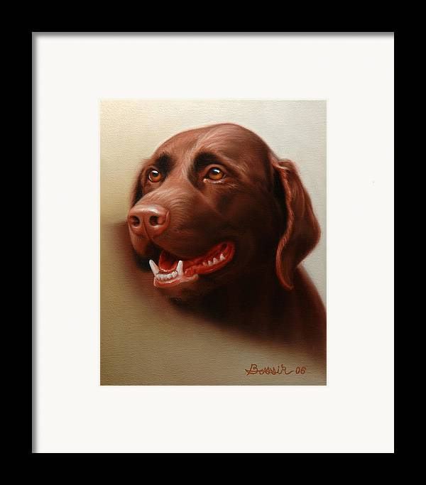 Chocolate Labrador Framed Print featuring the painting Pet Portrait Of A Chocolate Labrador by Eric Bossik