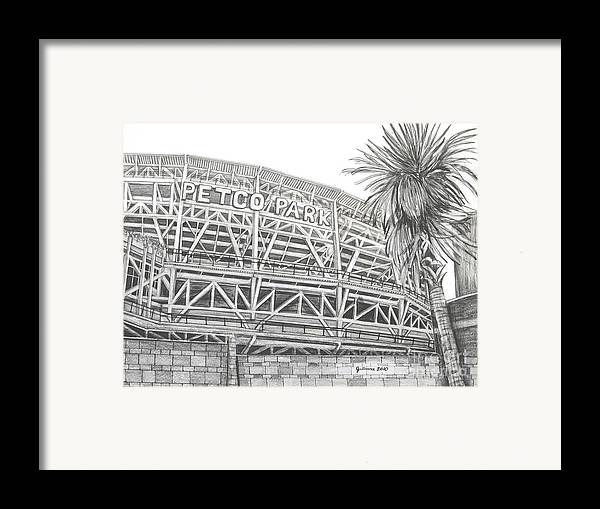 Petco Park Framed Print featuring the drawing Petco Park by Juliana Dube