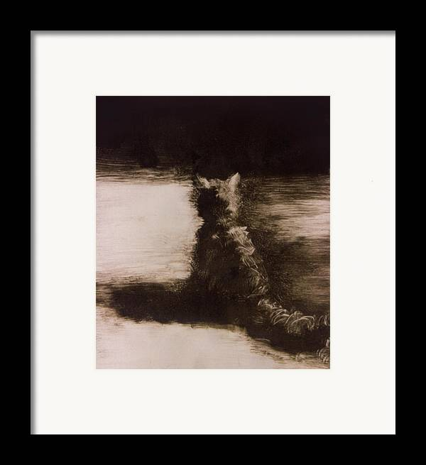 Cat Framed Print featuring the painting Peter The Cat by John Clum