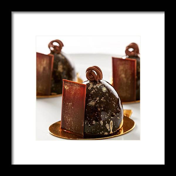 Pasteleria Framed Print featuring the photograph Petit Gateaux, Chocolate, Hazelnut And by Juan Silva