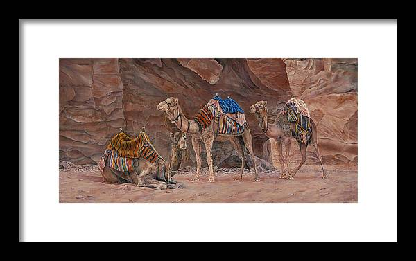 Camels Framed Print featuring the painting Petra Camels by Edmund Price