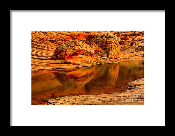 Coyote Buttes North Framed Print featuring the photograph Petrified Dune Reflections by Adam Jewell