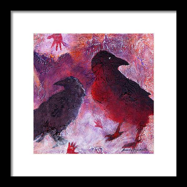 Raven Framed Print featuring the painting Petro Raven by Sandy Applegate