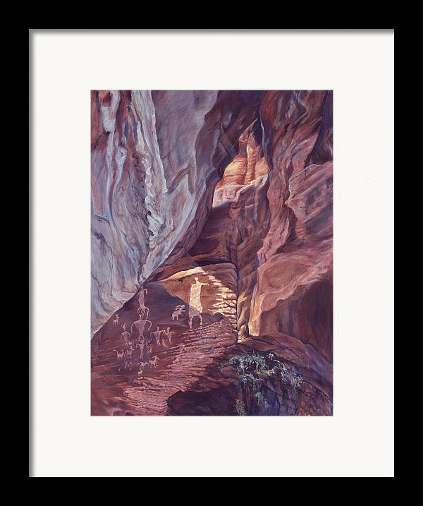Landscape Framed Print featuring the painting Petroglyph Circus by Page Holland