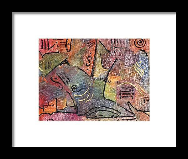 Primitve Abstract Hues Of Color Blues Framed Print featuring the painting Petroglyph Quilt by Gina Reynolds
