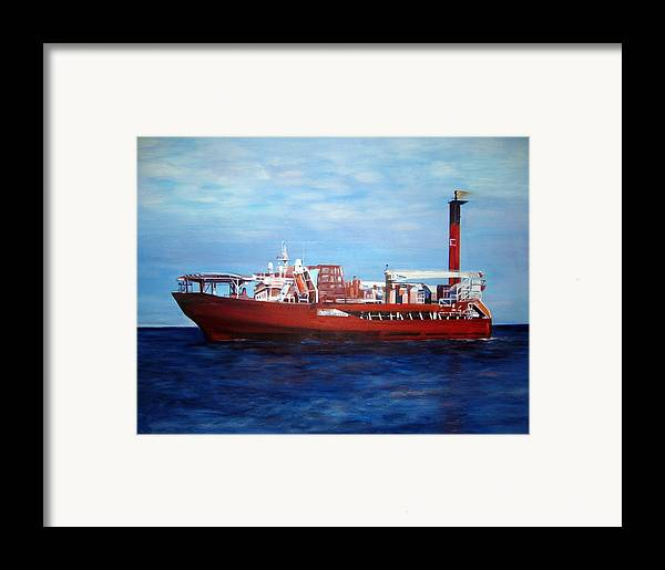 Ship Framed Print featuring the painting Petrojarl Banff by Fiona Jack