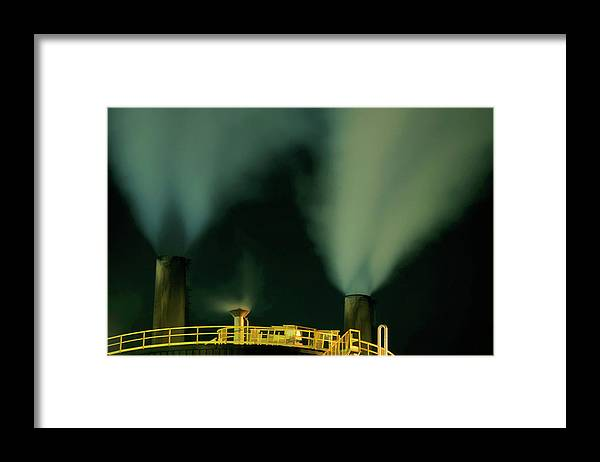 Air Pollution Framed Print featuring the photograph Petroleum Refinery Chimneys At Night by Sami Sarkis
