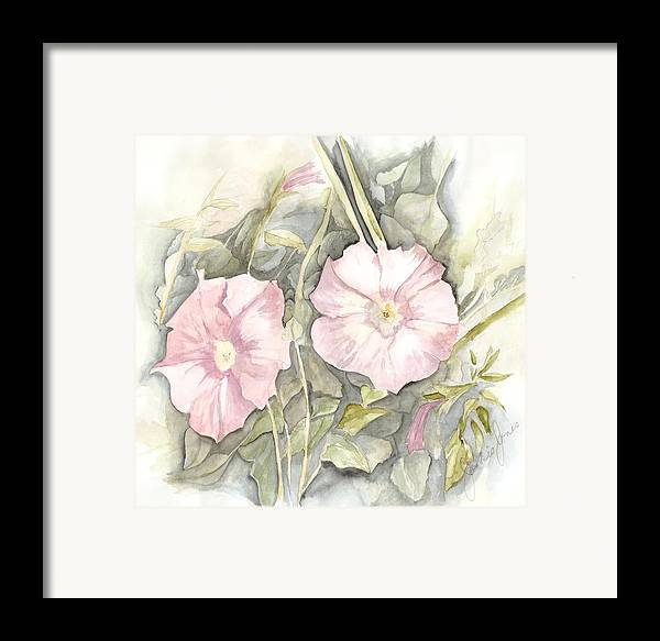 Petunias Framed Print featuring the painting Petunias by Jackie Mueller-Jones