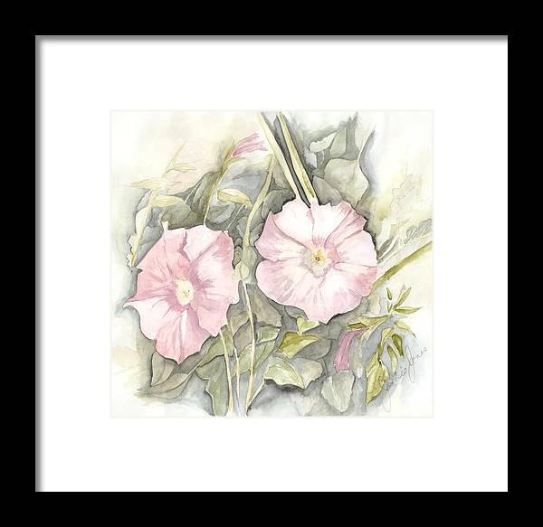 Petunias Framed Print featuring the painting Petunias by Jackie Mueller-Jones