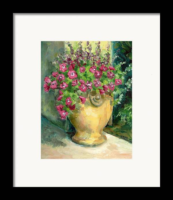Still Life Framed Print featuring the painting Petunias by Linda Vespasian