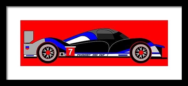 Peugeot 908 Framed Print featuring the digital art Peugeot 908 Hdi Sat - No. 7 by Asbjorn Lonvig