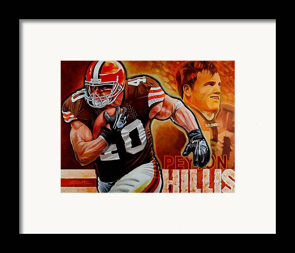 Football Framed Print featuring the painting Peyton Hillis by Jim Wetherington