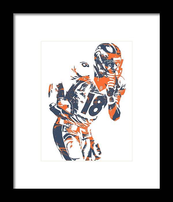 Peyton Manning Denver Broncos Pixel Art 6 Framed Print by Joe Hamilton