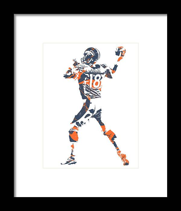 Peyton Manning Denver Broncos Pixel Art 7 Framed Print by Joe Hamilton