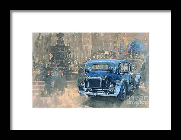 Rolls Royce; Car; Vehicle; Vintage; Automobile; Fountain; West End; London; Piccadilly Circus; London; Nostalgic; England; Classic Cars; Vintage Car; Old Timer; Classic Cars Framed Print featuring the painting Phantom in Piccadilly by Peter Miller