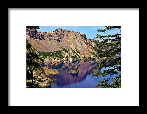 Lake Framed Print featuring the photograph Phantom Ship In Crater Lake by Michael Courtney