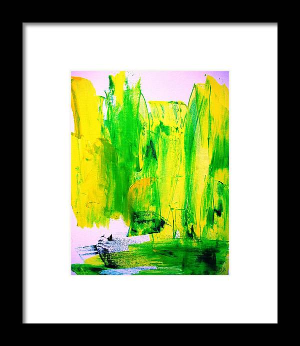 Yellow Framed Print featuring the painting Phantom Yellow Daffodil Boat by Bruce Combs - REACH BEYOND