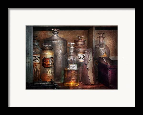 Apothecary Framed Print featuring the photograph Pharmacy - That's The Spirit by Mike Savad