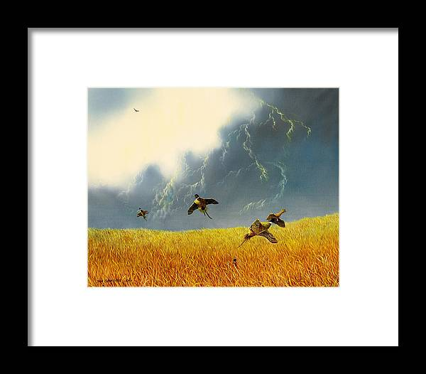Pheasants Framed Print featuring the painting Pheasants On The Rise by Don Griffiths