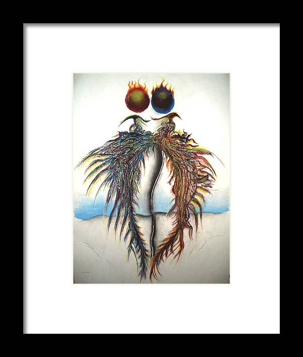 Pheonix Framed Print featuring the pastel Pheonix Rising by Nathaniel Hoffman