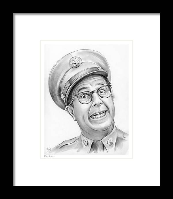 Phil Silvers Framed Print featuring the drawing Phil Silvers by Greg Joens