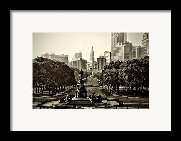 Philadelphia Framed Print featuring the photograph Philadelphia Benjamin Franklin Parkway In Sepia by Bill Cannon