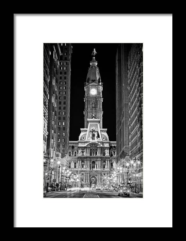 Us Framed Print featuring the photograph Philadelphia City Hall at Night by Val Black Russian Tourchin