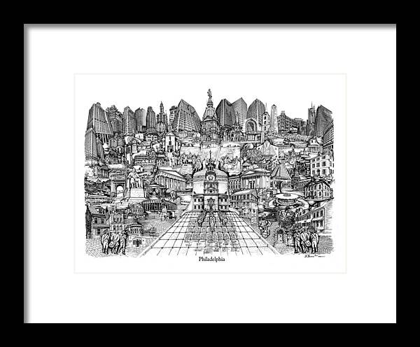 City Drawing Framed Print featuring the drawing Philadelphia by Dennis Bivens
