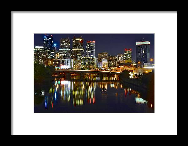 Philadelphia Framed Print featuring the photograph Philadelphia Evening Lights by Frozen in Time Fine Art Photography