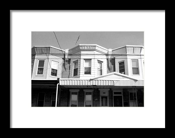 City Framed Print featuring the photograph Philadelphia Row Houses - Black And White by Matt Harang