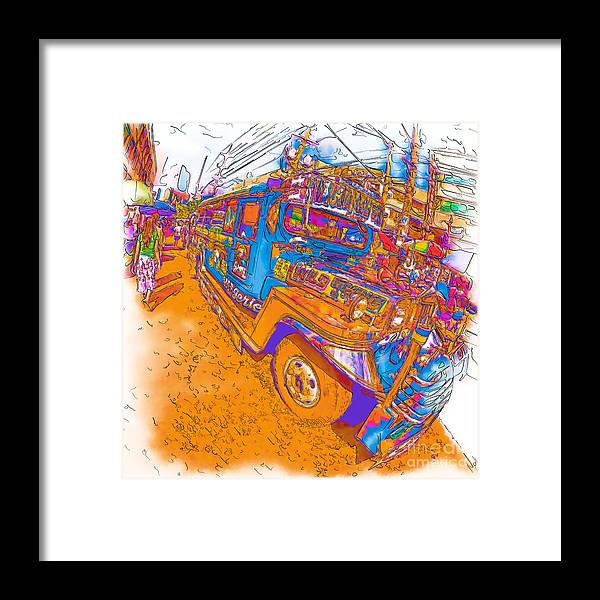Asia Framed Print featuring the drawing Philippine Girl Walking By A Jeepney by Rolf Bertram