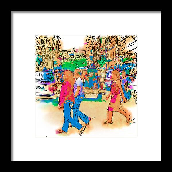 Asia Framed Print featuring the drawing Philippine Girls Crossing Street by Rolf Bertram
