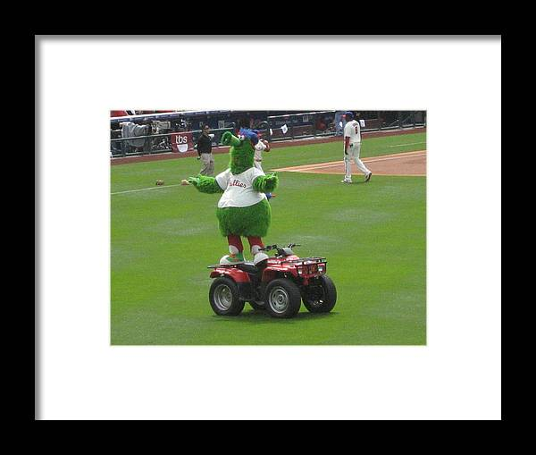 Phillis Framed Print featuring the photograph Phillie Phanatic by Jennifer Sweet