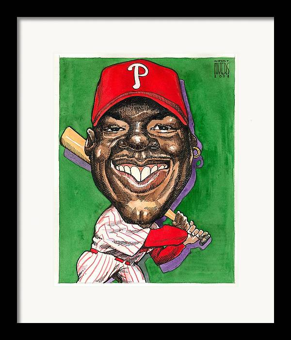 Sports Art Framed Print featuring the painting Phillies by Robert Myers