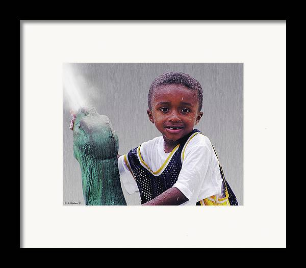 2d Framed Print featuring the photograph Philly Fountain Kid by Brian Wallace